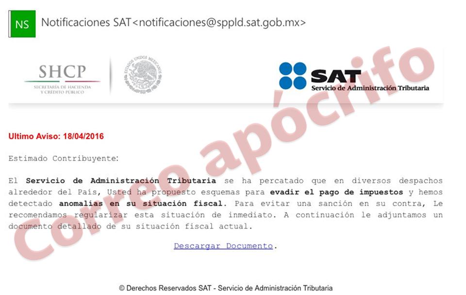 SAT advierte sobre correos apócrifos